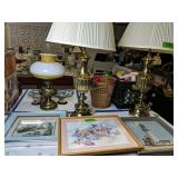 Pair Of Brass Lamps, 3d Relief Seagull Picture,