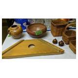 Signed Burl Wood Vase, Pottery Bowl, Many Harpa