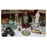 Decorative Oriental Items. Lamp, Teapot,