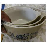 Three Pyrex Nesting Bowls