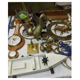 Brass Porthole, Wood Boat, Barometer, Brass