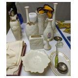 Lenox Vases,  Milk Glass Dog Covered Dish Etc