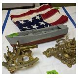 Brass Sexton, Inkwell, Wood Ship Model, American