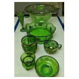 Delaware Glass, Green Glass Bowl Etc