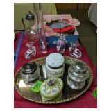Vanity Tray, Powder Jars, Orrefors Candle