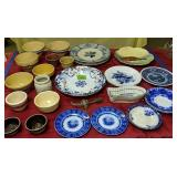 Gaudy Welsh Plate, Flow Blue, Pottery Bowls Etc