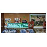Shelf Lot Elvis. Sign, Books, License Plates,