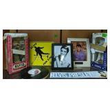 Shelf Lot Elvis. Decanters, Book, Signs Etc