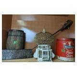 Shelf Lot. Bird Cage, Nail Keg, Sign, Mann