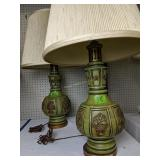 Pair Of Mid-century Plaster Green Lamps
