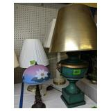 For Table Lamps. Glass Flower Shade, Green Urn