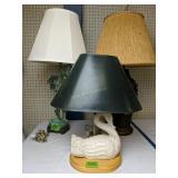 3 Table Lamps. Swan, Leaves, Modernist