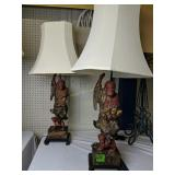 Pair Of Oriental Figural Table Lamps Man With