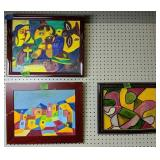 Three Oil On Canvas Abstract Paintings