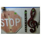 Stop Sign, Bells, Metal Music Note Wall Decor