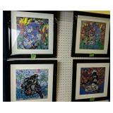 Four Abstract Oriental Prints