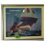 "Lenticular Wall Art Sailboat Race 23x19"""