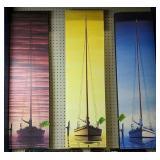 "Three Sailboat Prints On Canvas 40x11.5"" Each"