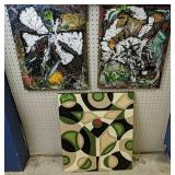 Three-signed Abstract Paintings On Canvas