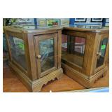 Pair Of Oak Beveled Glass And Table Showcases