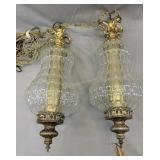 Pair Of Mid-century Hollywood Regency Swag Lamps