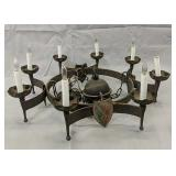 Gothic 8 Light Iron Chandelier With Shields