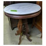 """Victorian Oval Marble Top Table 20x16x29"""""""