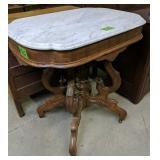 "Victorian Oak Marble Top Table 28x19.5x30"""