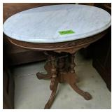 "Oval Victorian Walnut Marble Top Table 28x22x30"""
