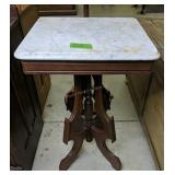 Victorian Walnut Rectangle Marble Top Table