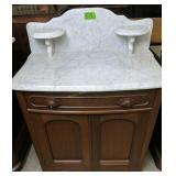 "Victorian Walnut Marble Top Wash Stand 29x17x38"""