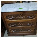 Victorian Walnut Marble Top 3 Drawer Dresser