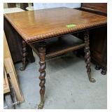 "Oak Rope Edge Table, Dolphin Feet 30x30x29"""