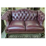 Burgundy Tufted Back Chesterfield Style Loveseat