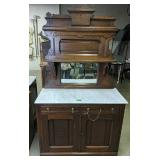 Victorian Black Walnut Marble Top Sideboard With