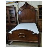 Victorian Walnut Bed, Full Size Mattress