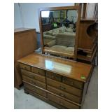 "Maple Dresser With Mirror 50x18.5x32"" Tall, 66"""