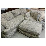 Upholstered Couch And Oversized Seat With Ottoman