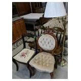 Victorian Velvet Side Chair, Needlepoint, Maple