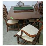 Mahogany Table With Six Shield Back Chairs