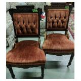 Pair Of Victorian Red Velvet Walnut Side Chairs