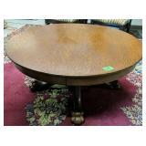 "42"" Tiger Oak Paw Foot Coffee Table"