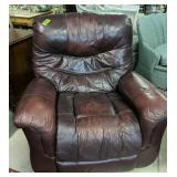 """Burgundy Leather Recliner 40"""" Wide, Wear To"""