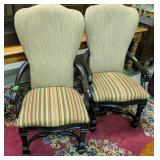 "Pair Of Striped Arm Chairs 47"" Tall Each"