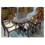 Glass Top Oval Cherry Dining Table, 6 Chairs