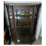 """Oak Bow Front China Cabinet 42.5x16x64.5"""" Tall"""