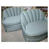 Pair Of Green Upholstered Decorator Settees