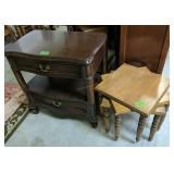 Cherry End Table, Three Small Square Tables