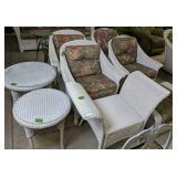 Lloyd Loom White Wicker Chairs, Ottoman, Tables