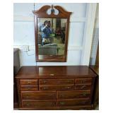 "Cherry Broyhill Wide Dresser With Mirror 58x18x32"""